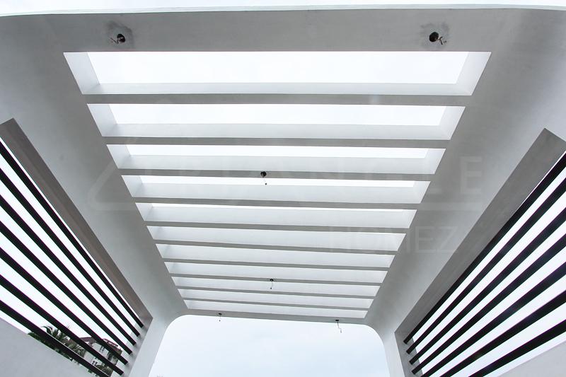 Curvy RCC Bar Roof Pergola with Clear Acrlic Sheet
