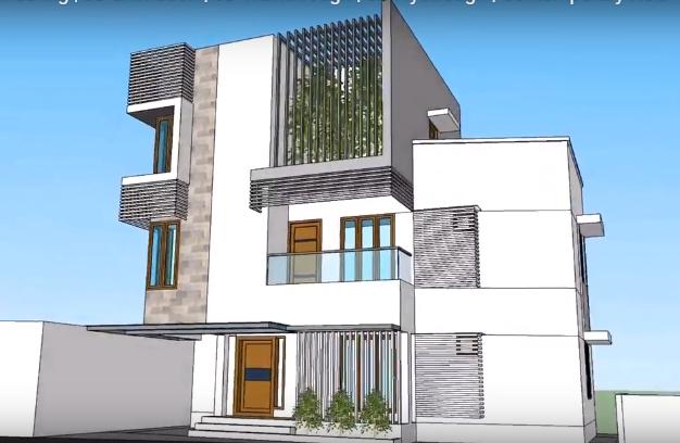 contemporary residential villa animation