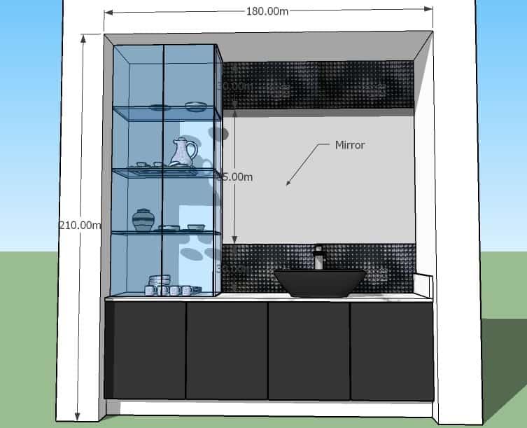 Wash cum Crockery Shelf Design